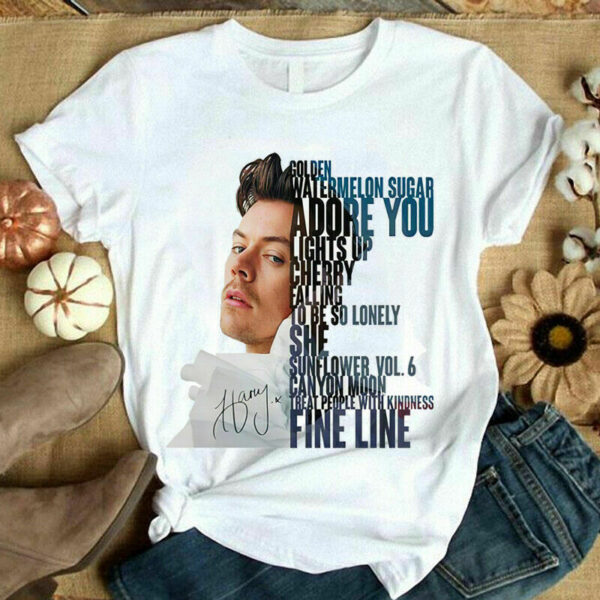 Harry Styles Golden Watermelon Sugar Adore You Fine Line Signature T Shirt